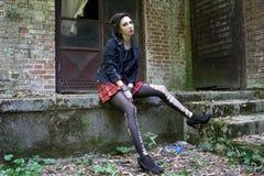 Punkrockflicka Fotografering för Bildbyråer
