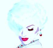 Punkrockkonst, komisk stilblondinflicka Som Marilyn Monroe men vår egen unika digitala konststil fotografering för bildbyråer