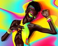 Punkrockmode Mohawkhår, färgrika skönhetsmedel och matchabakgrund Arkivbild