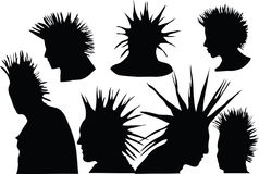 Punks. 70s-80s punk rock hairstyle, urban culture Royalty Free Stock Images