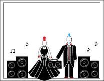 Punks with speakers 3. Two punks male and female with speakers and stereo vector illustration