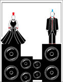 Punks with speakers 4. Two punks male and female on speakers stock illustration