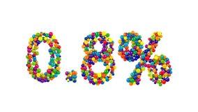 Punkt åtta procent som göras från färgrika bollar Arkivbild