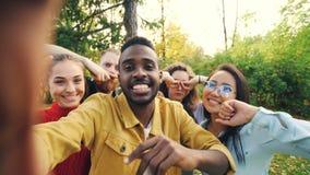 Punkt av siktsskottet av vänner som tar selfie parkerar in, att se kameran, framställning av roliga framsidor och att skratta ha  stock video