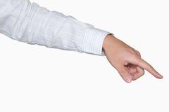 Punkt des Geschäftsmannes Handmit Ausschnittspfad Stockbild