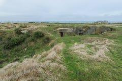 Punkt Du Hoc Normandy ląduje batalistycznych pola Zdjęcia Stock