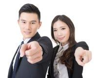 Punkt för affärsman och kvinnapå dig fotografering för bildbyråer
