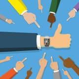 Punkt för många händer som ilar klockan på blått stock illustrationer