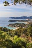 Punkt för Phuket ösikt, Kata Karon Patong Beach Royaltyfri Fotografi