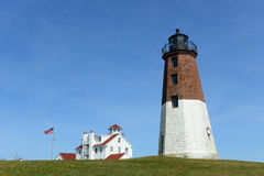 Punkt Judith Lighthouse, Narragansett, RI, USA Royaltyfria Bilder