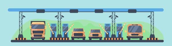 Punkt kontrolny na autostradzie płatnej Zapłata opłaty drogowa na autostradzie płatnej Higway opłaty drogowa teren z transportem ilustracji