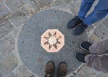 Punkt null in der Kathedrale von Notre Dame de Paris lizenzfreies stockfoto
