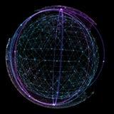Punkt och kurvan konstruerade sfärwireframen, teknologisk illustration för avkänningsabstrakt begrepp 3d Royaltyfri Bild