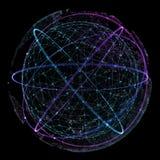 Punkt och kurvan konstruerade sfärwireframen, teknologisk illustration för avkänningsabstrakt begrepp 3d Royaltyfri Fotografi