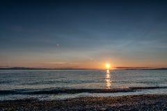 Punkt-Roberts-Sonnenuntergang am Mondschein Lizenzfreie Stockfotos