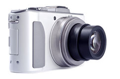 Punkt-und Eintragfaden-Digitalkamera getrennt auf Weiß Lizenzfreie Stockfotos