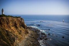 Punkt Vicente Lighthouse och havsikt Arkivbilder