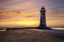 Punkt von Ayr-Leuchtturm auf Talacre-Strand Lizenzfreie Stockfotografie