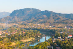 Punkt widzenia i krajobraz w luang prabang, Laos zdjęcie stock