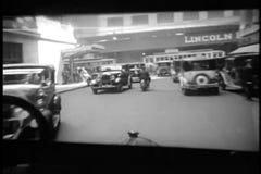 Punkt widzenia 1920s samochodowy jeżdżenie z Uroczystej centrali staci, Miasto Nowy Jork zbiory