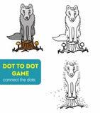 Punkt zu Dot Games für Kinder Karikaturwolf Stockbild