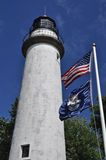Punkt-Zusatzdreimaster-Leuchtturm-Nahaufnahme Lizenzfreie Stockfotos