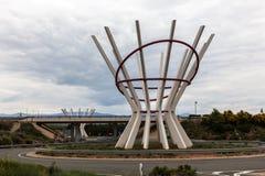 Punkt zwrotny przy autostradą w Aragon, Hiszpania Obraz Stock