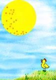 Punkte auf dem Sun und dem Huhn. lizenzfreie abbildung