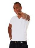 Punkte des schwarzen Kerls mit dem Finger Lizenzfreies Stockbild