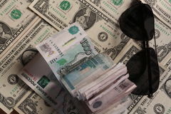 Punkte, Rubel und Dollar Lizenzfreie Stockfotografie