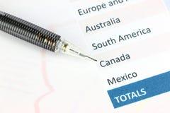 Punkten till grafen Kanada för geografisk region. Royaltyfri Bild