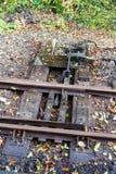 Punkter i järnvägsspår för smalt mått Arkivfoton