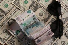 Punkter, rubel och dollar Royaltyfri Fotografi