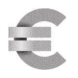 Punkterad euroteckensymbol isolerade höga för euro för valuta 3d framför upplösningssymbol vitt också vektor för coreldrawillustr vektor illustrationer