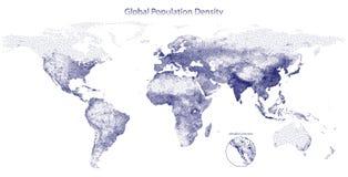 Punkterad vektoröversikt av global befolkningtäthet Arkivbild