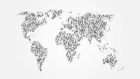 Punktierte abstrakte Weltkarte mit Schatten-Schablone Lizenzfreies Stockbild