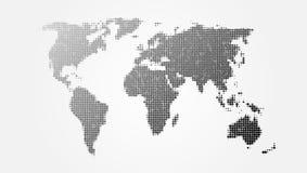 Punktierte abstrakte Weltkarte mit Schatten-Schablone Stockfotos