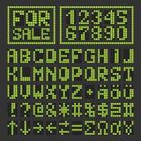 Punktierte geführte digitale lateinische Buchstaben und Zahlen des Gusses Lizenzfreies Stockfoto