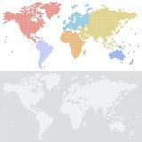 Punktierte Halbtonvektorkarte der Welt Stockbilder