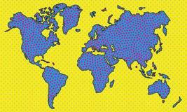 Punktierte Karte Retro- vektorabbildung Abbildung der roten Lilie Geolocation und auf der ganzen Welt reisen Lizenzfreies Stockfoto