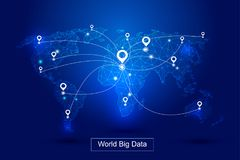Punktierte Linien setzen die Weltkarte, GPS-Positionierung festsetzen den Welt-` s großen Datentechnologie-Vektorhintergrund fest stockfotografie