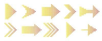 Punktierte Pfeile eingestellt für Entwurf Auch im corel abgehobenen Betrag vektor abbildung