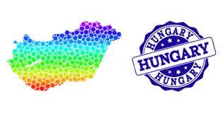 Punktierte Regenbogen-Karte von Ungarn- und Schmutz-Stempelsiegel stock abbildung