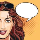 Punktierter Hintergrund der Blase der Pop-Arten-Frau attraktive Rede Lizenzfreie Stockbilder