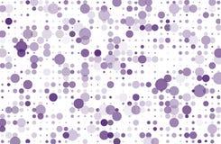 Punktierter Hintergrund mit Kreisen, Punkte, zeigen unterschiedliche Größe, Skala Halbtonmuster Vektorillustration violett, purpu Lizenzfreie Stockfotos