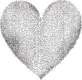 Punktiertes Herz auf weißem Hintergrund Stockbild