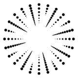 Punktiertes Radial, Linien ausstrahlend Rundschreiben punktiert Motiv Abstrakte Querstation stock abbildung