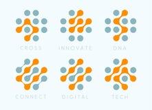 Punktquervektor-Emblemsatz Erneuern moderne Ikonen der Biotechnologie Labosatory lokalisierte Logosammlung Digital-Wissenschaft lizenzfreie abbildung