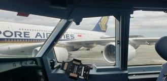 punktu obserwacyjnego widoku okno samolot zdjęcie royalty free