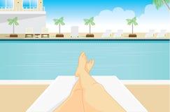 Punktu widok kobieta sunbathing ilustracji